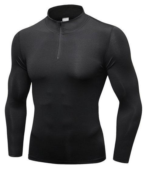 Men's Fitness Running Training Stretch Tight Stand Collar Sweatshirt - BLACK S