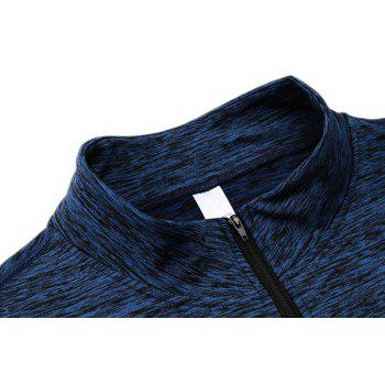 Men's Fitness Running Training Stretch Tight Stand Collar Sweatshirt - BLUE M