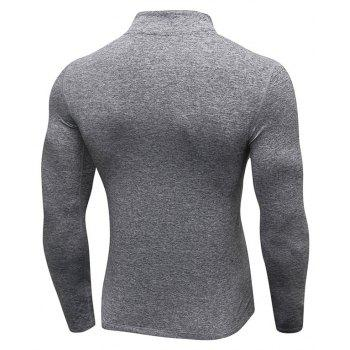 Men's Fitness Running Training Stretch Tight Stand Collar Sweatshirt - GRAY S