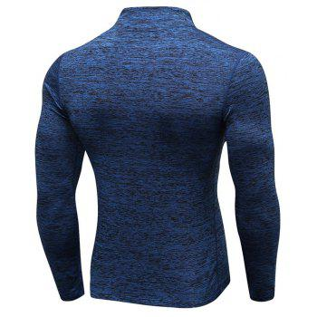 Men's Fitness Running Training Stretch Tight Stand Collar Sweatshirt - BLUE 2XL