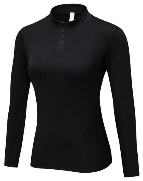 Women PRO Fitness Running Elastic Tight Stand Sweater - BLACK L