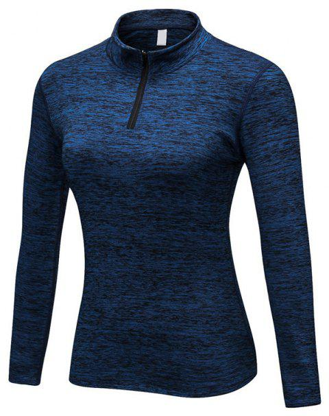 Women PRO Fitness Running Elastic Tight Stand Sweater - BLUE M