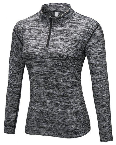 Women PRO Fitness Running Elastic Tight Stand Sweater - DARK GRAY 2XL