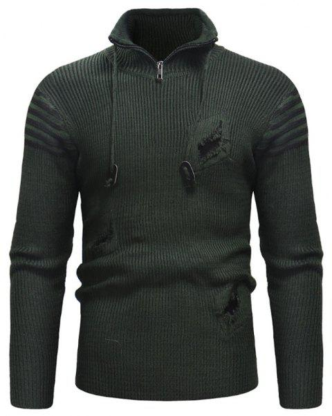 Men's Zipper Hole Knitted Sweater - CAMOUFLAGE GREEN 2XL