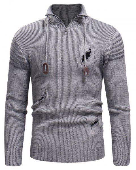 Men's Zipper Hole Knitted Sweater - GRAY M