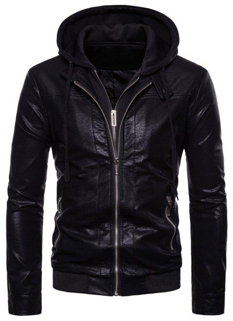 Fashion Youth Men's Casual Motorcycle Leather Multi-Zip Slim Jacket - BLACK L