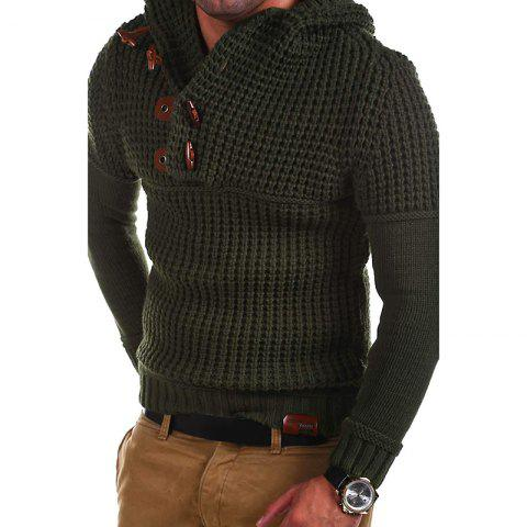 Men's High Quality Design Fashion Hooded Solid Color Sweater - ARMY GREEN L