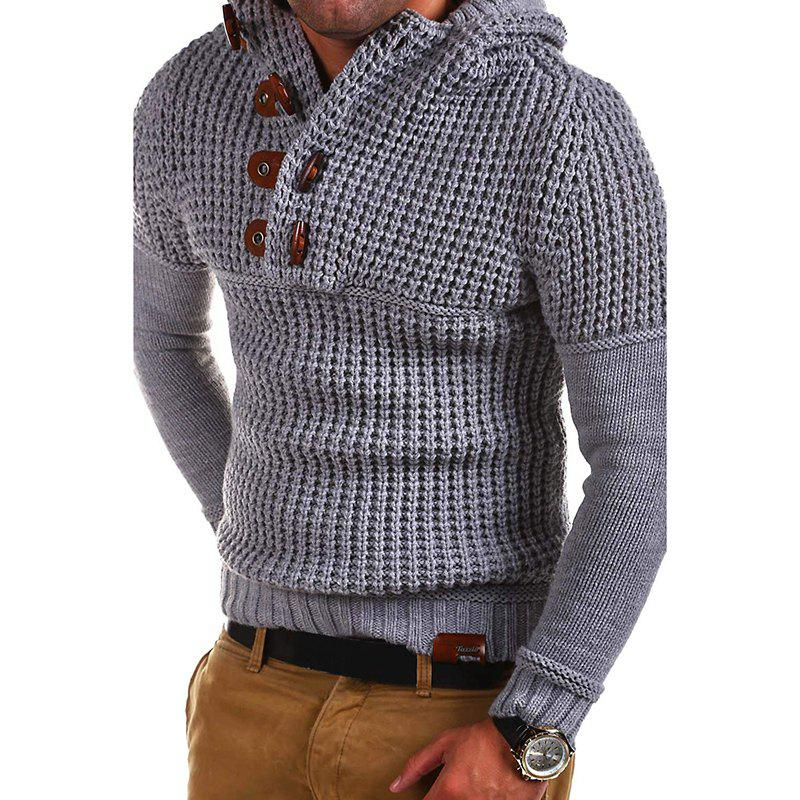Men's High Quality Design Fashion Hooded Solid Color Sweater - LIGHT GRAY XL