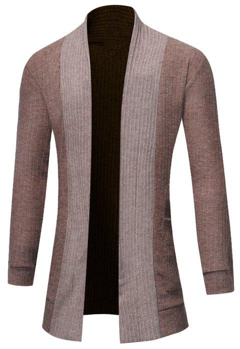 Men's Fashion Solid Color Cardigan in Long Paragraph Wild Sweater - DARK KHAKI 3XL