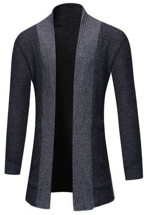 Men's Fashion Solid Color Cardigan in Long Paragraph Wild Sweater - DARK GRAY XL