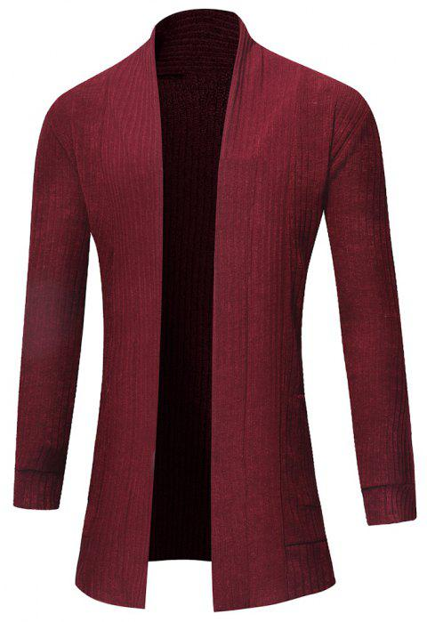 Men's Fashion Solid Color Cardigan in Long Paragraph Wild Sweater - RED WINE 2XL