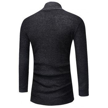Men's Fashion Solid Color Cardigan in Long Paragraph Wild Sweater - DARK GRAY 2XL