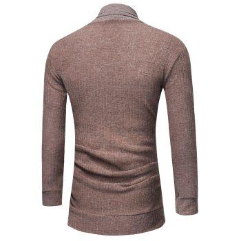 Men's Fashion Solid Color Cardigan in Long Paragraph Wild Sweater - DARK KHAKI M