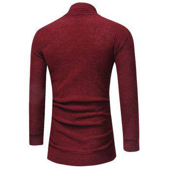 Men's Fashion Solid Color Cardigan in Long Paragraph Wild Sweater - RED WINE M