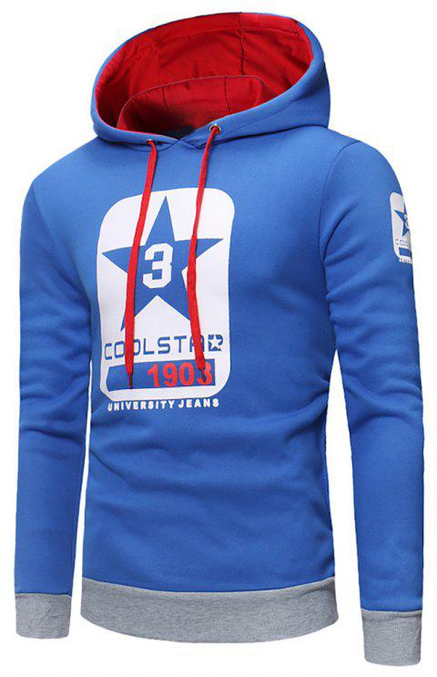 Men's Fashion Letter Print Hit Color Hooded Long-Sleeved Casual Thick Sweater - BLUE 3XL