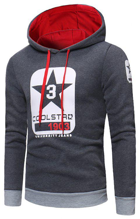 Men's Fashion Letter Print Hit Color Hooded Long-Sleeved Casual Thick Sweater - GRAY XL