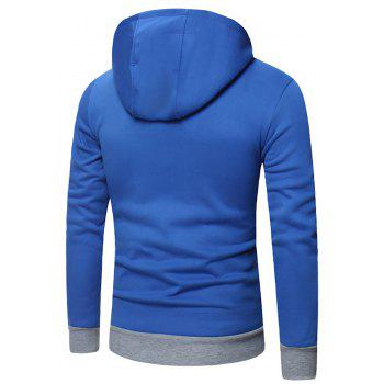 Men's Fashion Letter Print Hit Color Hooded Long-Sleeved Casual Thick Sweater - BLUE L