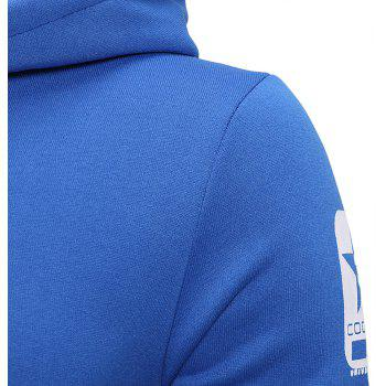 Men's Fashion Letter Print Hit Color Hooded Long-Sleeved Casual Thick Sweater - BLUE M