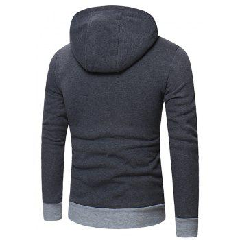 Men's Fashion Letter Print Hit Color Hooded Long-Sleeved Casual Thick Sweater - GRAY 3XL