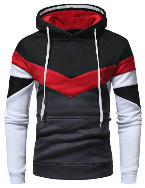 Men's Fashion Contrast Color Stitching Casual Long-Sleeved Hooded Padded Sweater - BLACK XL