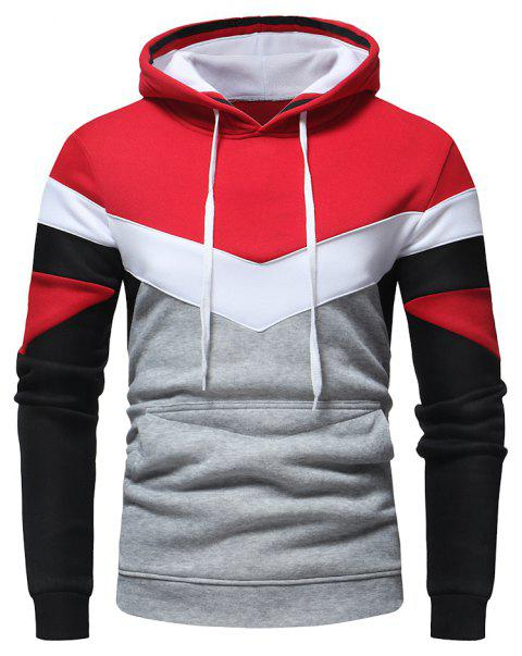 Men's Fashion Contrast Color Stitching Casual Long-Sleeved Hooded Padded Sweater - RED L