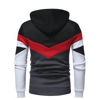 Men's Fashion Contrast Color Stitching Casual Long-Sleeved Hooded Padded Sweater - BLACK M