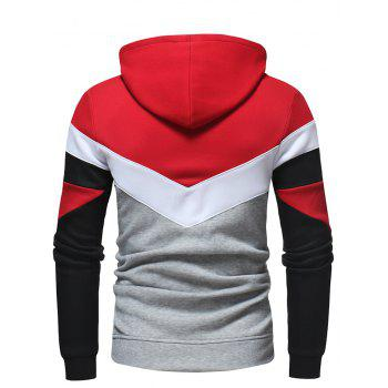 Men's Fashion Contrast Color Stitching Casual Long-Sleeved Hooded Padded Sweater - RED M