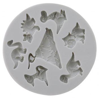 Cake Decoration Baking Tool Volcano Dinosaur Family Silicon Mold for Fondant - MILK WHITE
