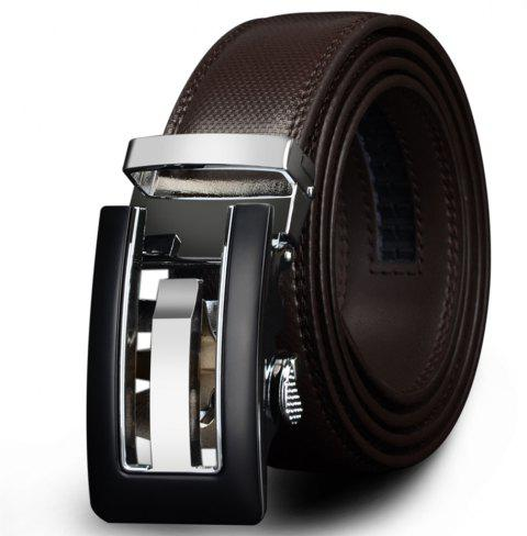 COWATHER CZ024 Men's Business Casual Leather Automatic Buckle Fashion Belt - BROWN 110CM