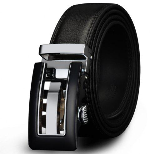 COWATHER CZ024 Men's Business Casual Leather Automatic Buckle Fashion Belt - JET BLACK 125CM