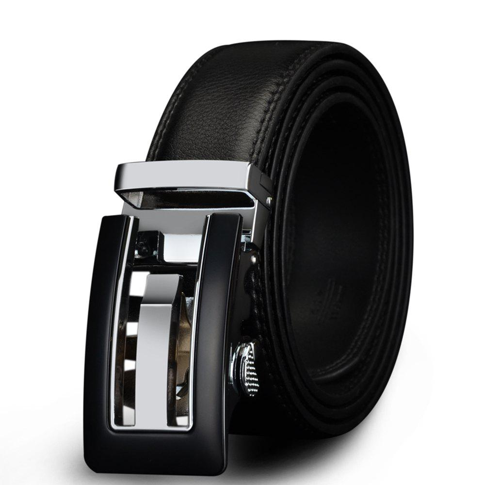COWATHER CZ024 Men's Business Casual Leather Automatic Buckle Fashion Belt - JET BLACK 120CM
