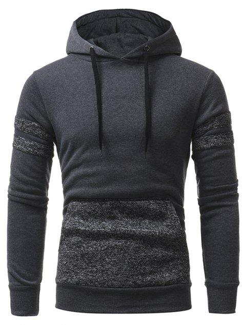 Personalized Patch Design Men's Casual Slim Hooded Pullover Sweater - DARK GRAY L