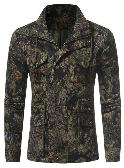 9a03ba3c91707 New Jungle Camouflage Men's Casual Multi Pocket Long Sleeve Jacket - ARMY  GREEN M