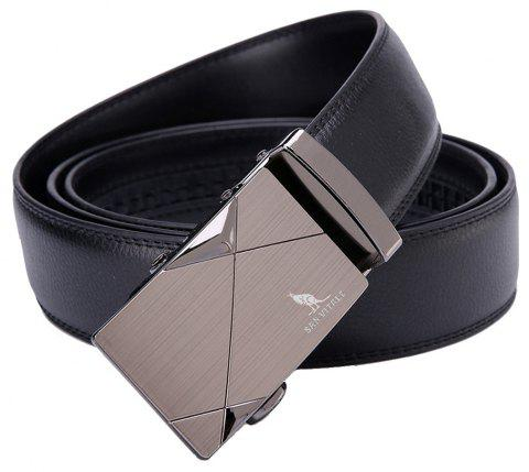 SAN VITALE Men Belt Auto Buckle Adjustable Strap - BLACK 110CM