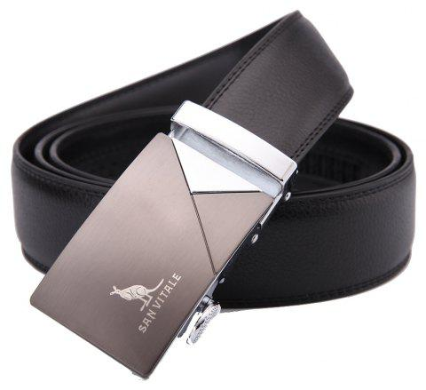 SAN VITALE Auto Buckle Men Belt Leather Strap - BLACK 115CM