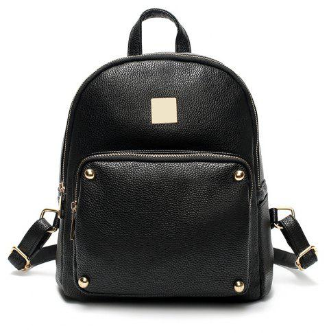 New Fashion Women'S Rivet Large Capacity Backpack - BLACK
