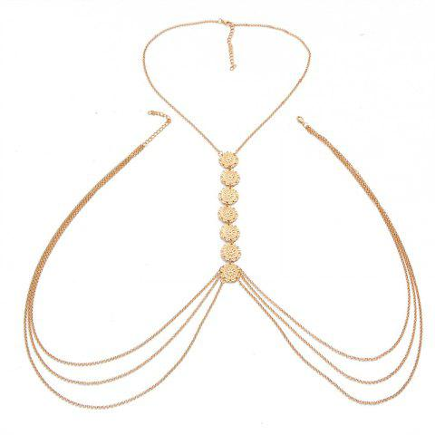 Creative Vintage Fashion Minimalist Glyph Flower Body Chain - GOLD