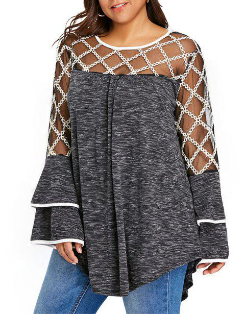 Lace Perspective Mesh Splicing Long Sleeve Blouse - DARK GRAY 3XL