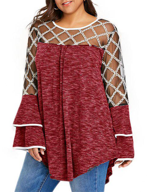 Lace Perspective Mesh Splicing Long Sleeve Blouse - RED WINE 5XL