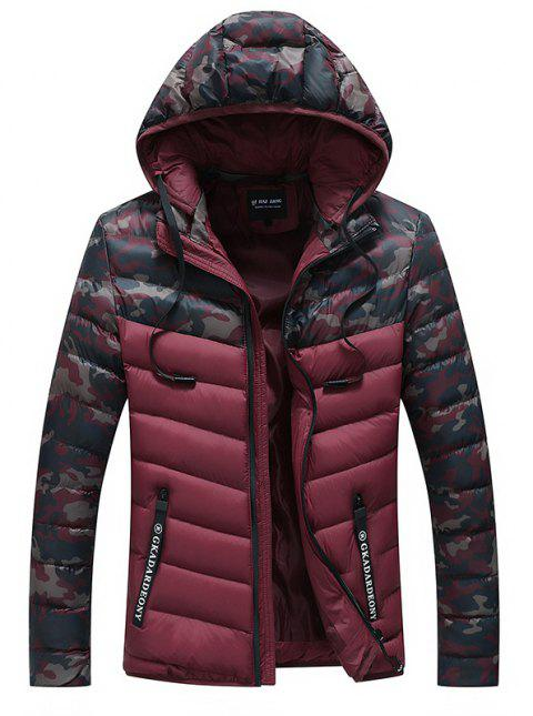 Men Quilted  Casual Hooded Breathable Solid Color Coat - RED WINE M