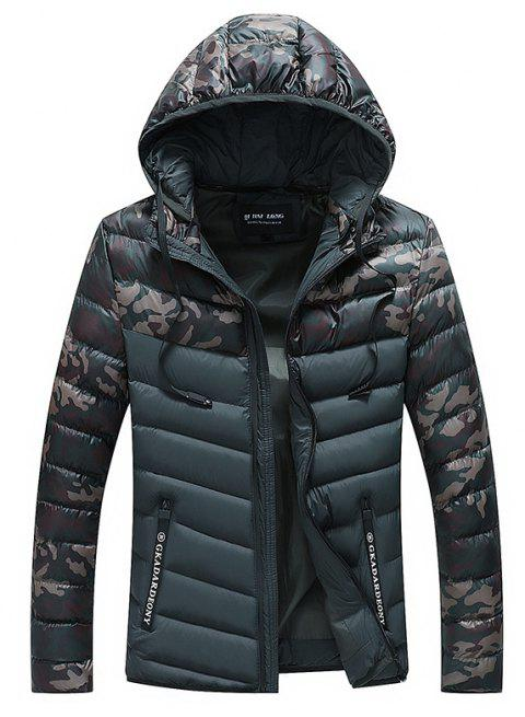 Men Quilted  Casual Hooded Breathable Solid Color Coat - BLACK L