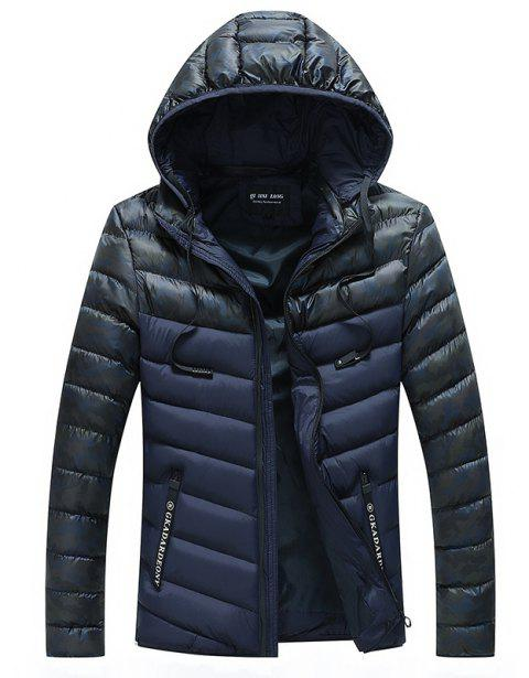 Men Quilted  Casual Hooded Breathable Solid Color Coat - DEEP BLUE M