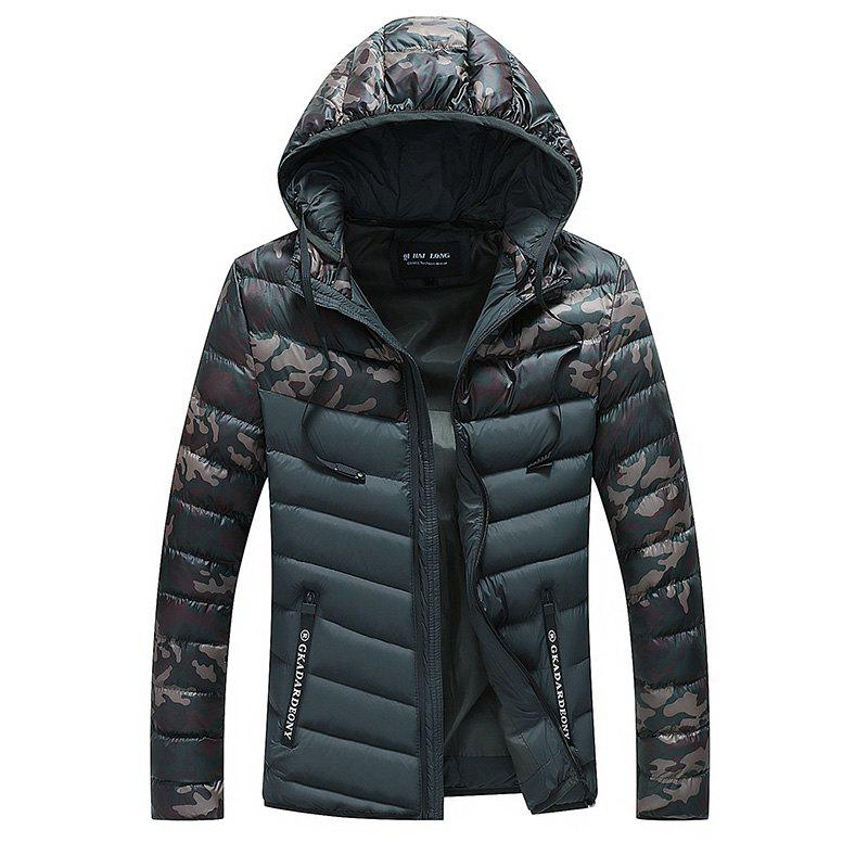 Men Quilted  Casual Hooded Breathable Solid Color Coat - BLACK 3XL