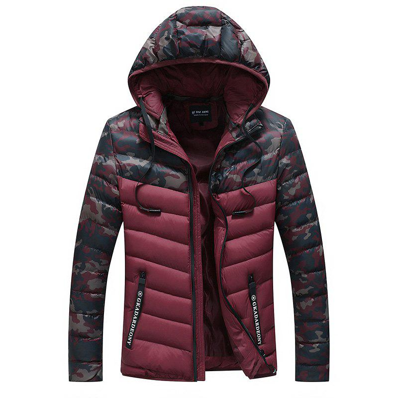 Men Quilted  Casual Hooded Breathable Solid Color Coat - RED WINE 2XL