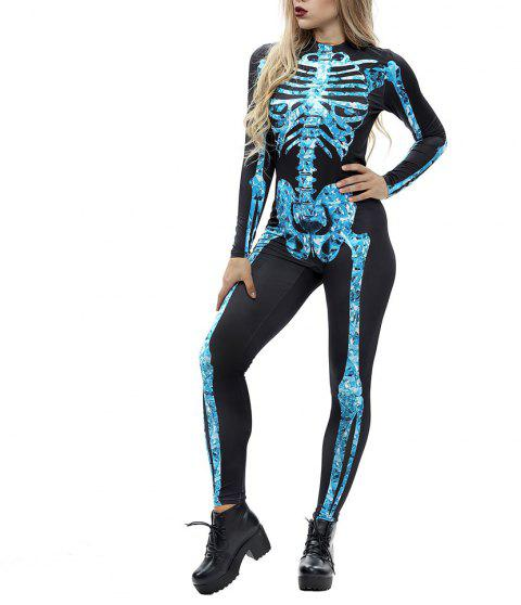 Women's Long Sleeve Print Zip Halloween Fashion Jumpsuit - multicolor K XL