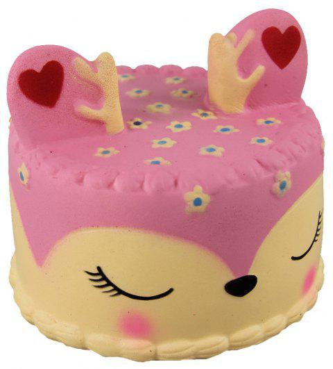 Jumbo Squishy Pink Antler Cake Soulager Stress Toy - multicolor