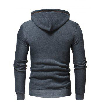 Men's Fashion Letters Embroidered Long-Sleeved Color Hat Casual Sweatshirt - GRAY M