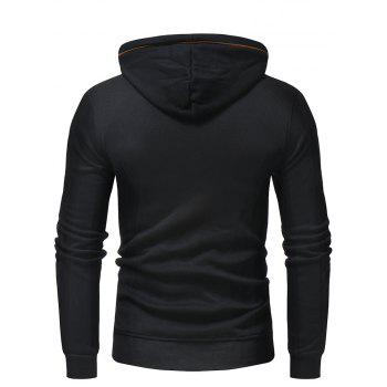 Men's Fashion Letters Embroidered Long-Sleeved Color Hat Casual Sweatshirt - BLACK L