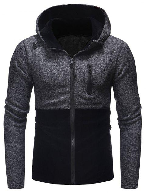 Men's Fashion Stitching Hooded Casual Long-Sleeved Thick Knit Sweater - BLACK M