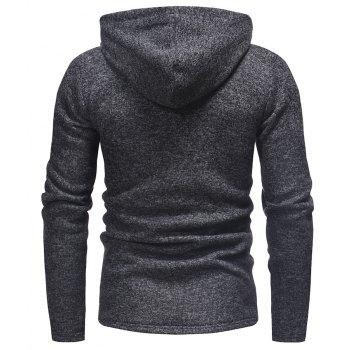 Men's Fashion Stitching Hooded Casual Long-Sleeved Thick Knit Sweater - BLACK L